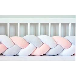 Бортик в кроватку Хатка Косичка Белый-Персиковый-Пепельный 120 см (одна сторона кроватки)