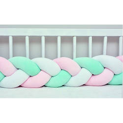 Бортик в кроватку Хатка Косичка Белый-Розовый-Мятный 120 см (одна сторона кроватки)