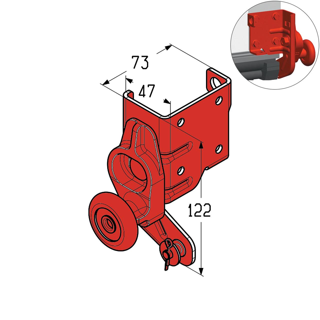 Кронштейн роликовий нижній Alutech RBG100R