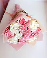 Букет из конфет / цветы из конфет в букете / вкусный подарок / Трюфель Розы розовый