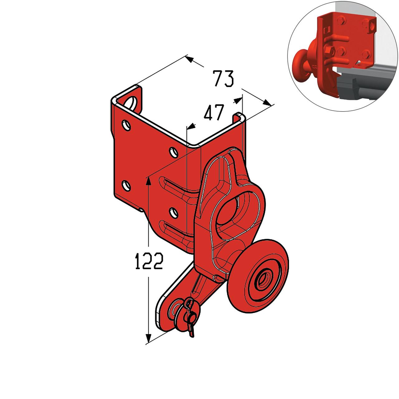 Кронштейн роликовый нижний Alutech RBG100L-SS