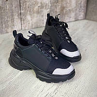 Жіночі кросівки з натуральної шкіри та текстилю 36-40 р чорний, фото 1