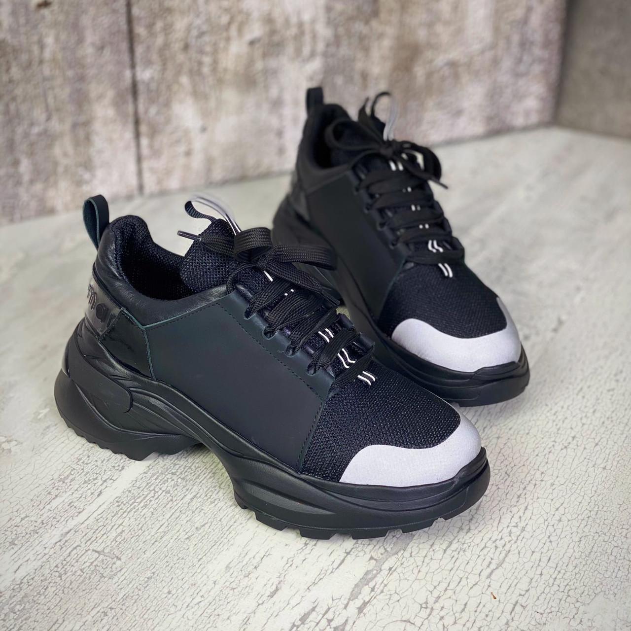 Жіночі кросівки з натуральної шкіри та текстилю 36-40 р чорний