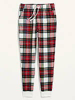 Мужские фланелевые штаны Old Navy домашние джоггеры art883753 (Красный/Белый, размер M)