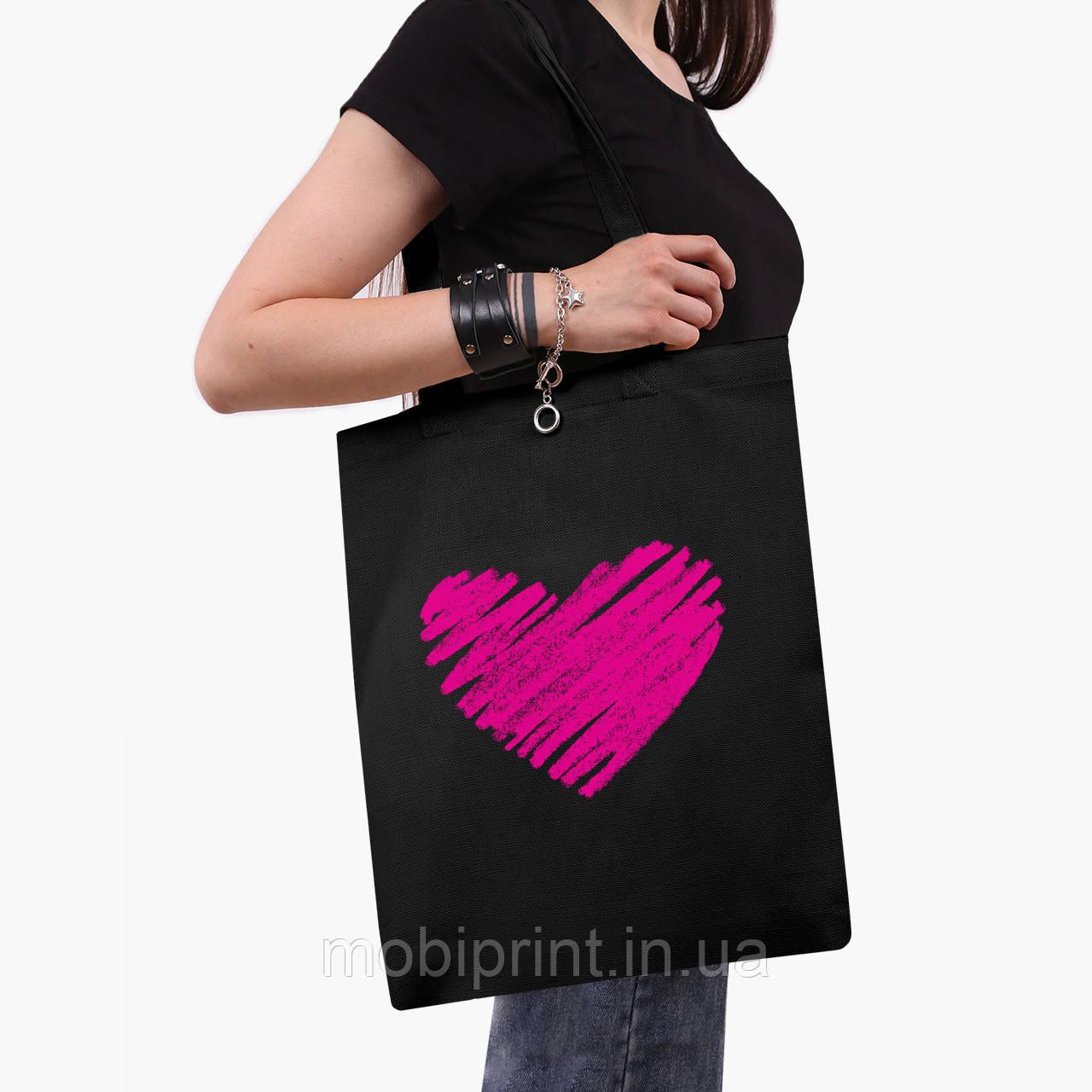 Эко сумка шоппер черная Сердце (Heart) (9227-2835-2)  41*35 см