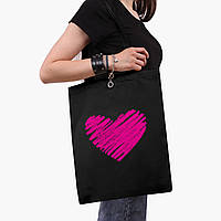 Эко сумка шоппер черная Сердце (Heart) (9227-2835-2)  41*35 см , фото 1
