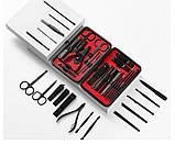 Набор маникюрный из 18 предметов в футляре. Набор для маникюра и педикюра в чехле (черный), фото 2