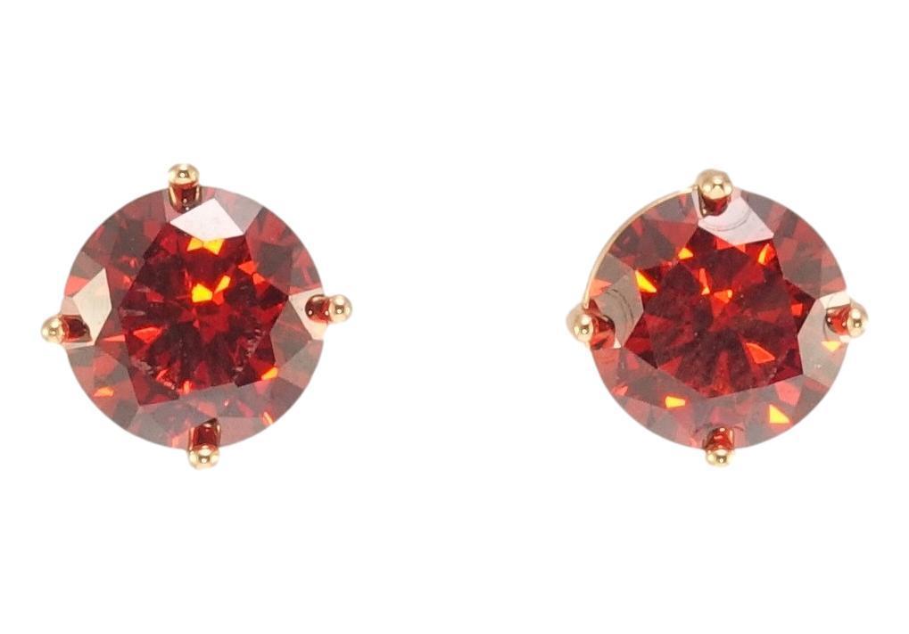 """Сережки XP Позолота 18К гвоздики (пусети) """"Червоні кристали в 4-х крапановой оправі"""" ø 8мм"""