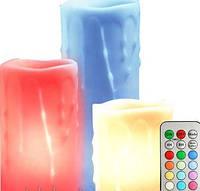 FL072 Оплавленная свеча,FERON, 3шт*1LED RGB+контроллер с п/у, (8*10; 8*12,5; 8*15см)