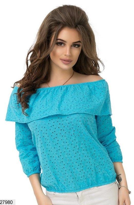 Нарядная блузка из прошвы с оборкой на плечах, прошва, голубой
