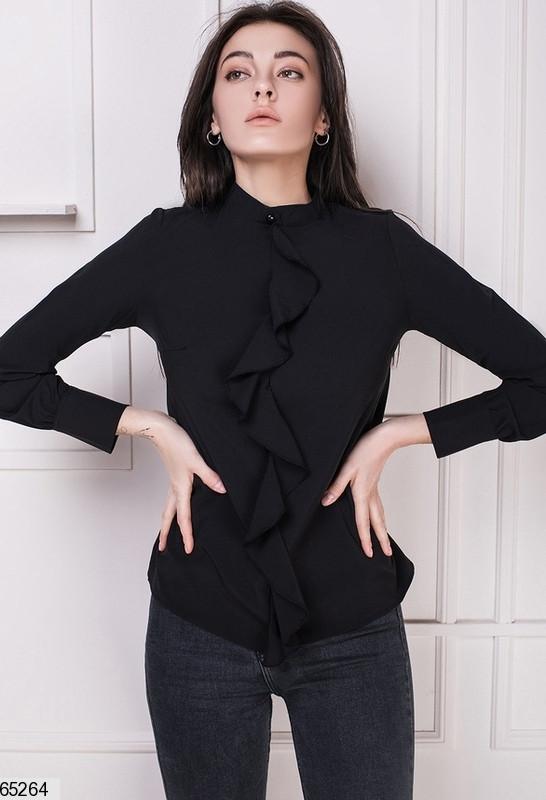 Стильная женская блузка с рюшем, софт, черный