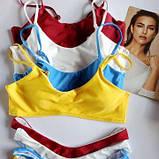 Женский купальник  раздельный с топом  голубой размер - голубой, желтый, бордо, белый, фото 2