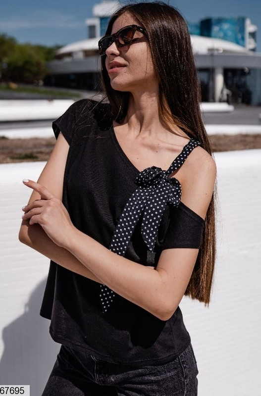 Літня блузка на одне плече, вставки - шифон, чорний