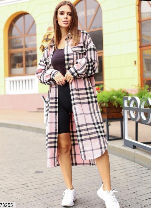 Легкое пальто-рубашка  в клетку, шерсть, пудра с черным