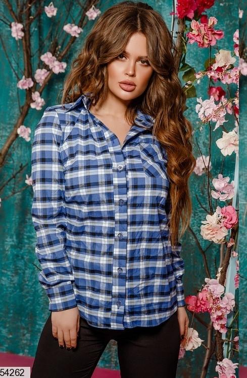 Жіноча сорочка в клітку з накладною кишенею, котон, синій