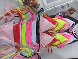 Роздільний однотонний купальник на зав'язках (чорний, білий, червоний, ніжно рожевий, яскраво рожевий, бордо), фото 4