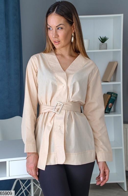 Елегантна сорочка без коміра v-виріз з поясом, котон, бежевий