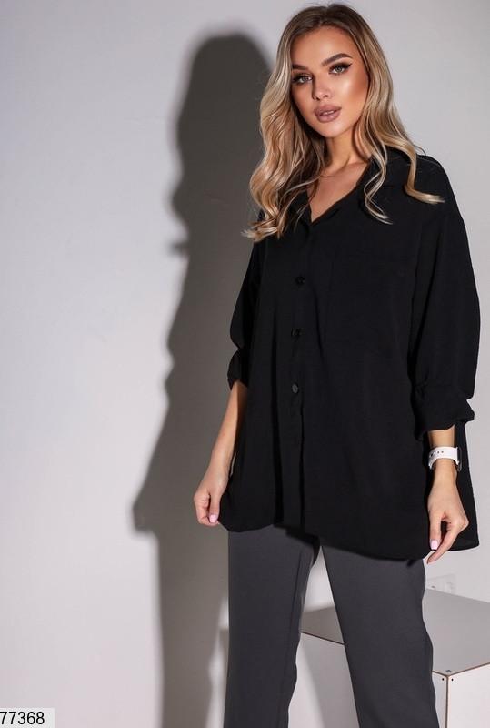 Женская свободная рубашка с разрезами по бокам, американский креп, черный