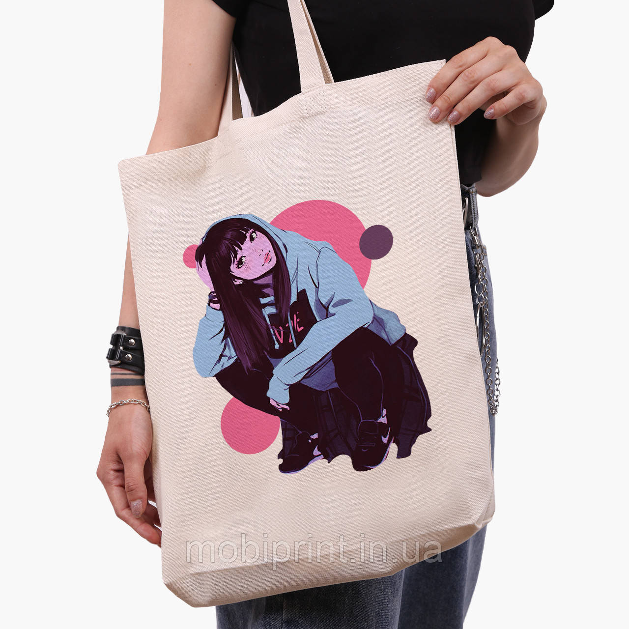 Эко сумка шоппер белая Девушка (Girl) (9227-2836-1)  41*39*8 см