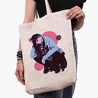 Эко сумка шоппер белая Девушка (Girl) (9227-2836-1)  41*39*8 см , фото 1