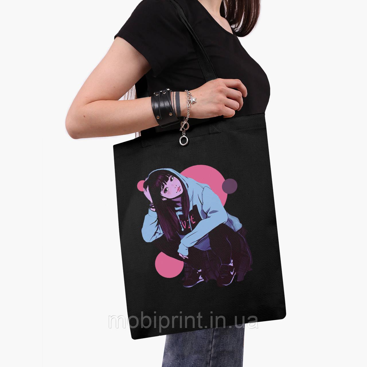 Эко сумка шоппер черная Девушка (Girl) (9227-2836-2)  41*35 см
