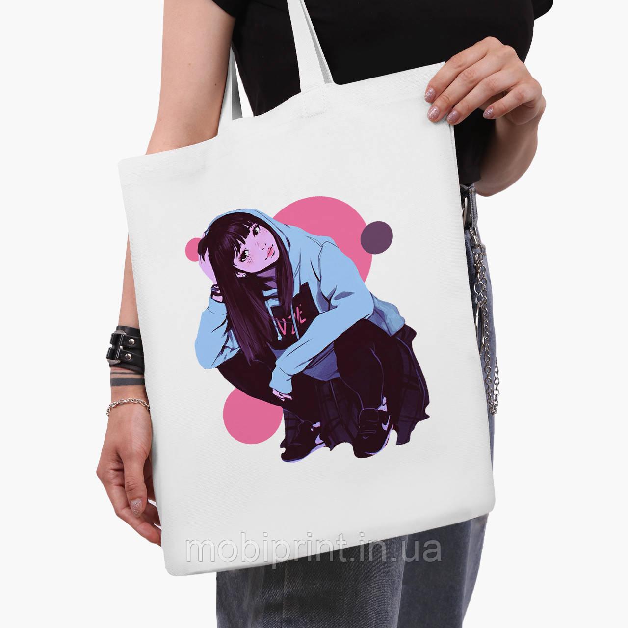 Еко сумка шоппер біла Дівчина (Girl) (9227-2836-3) 41*35 см