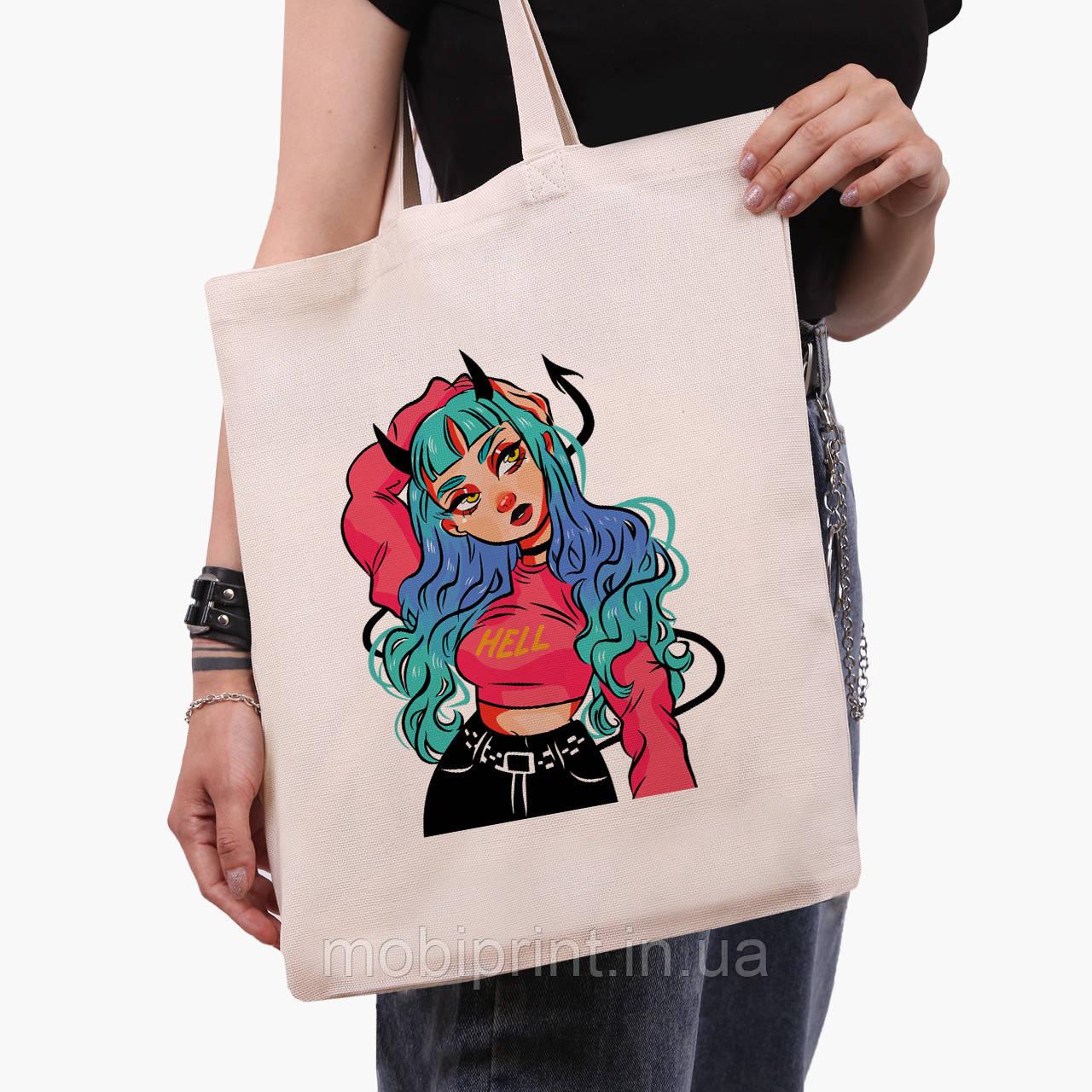 Еко сумка шоппер Дівчина демон (Cute Girl Illustration Art) (9227-2838) 41*35 см
