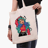 Еко сумка шоппер Дівчина демон (Cute Girl Illustration Art) (9227-2838) 41*35 см, фото 1