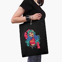 Еко сумка шоппер чорна Дівчина демон (Cute Girl Illustration Art) (9227-2838-2) 41*35 см, фото 1