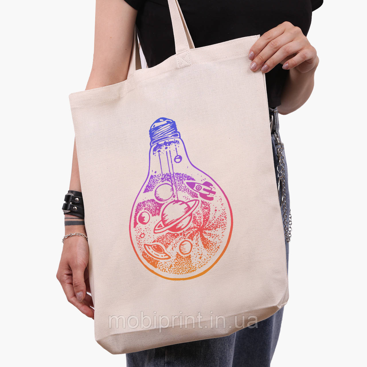 Еко сумка шоппер біла Планети в лампочці (Planets in a light bulb) (9227-2839-1) 41*39*8 см