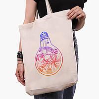 Еко сумка шоппер біла Планети в лампочці (Planets in a light bulb) (9227-2839-1) 41*39*8 см, фото 1