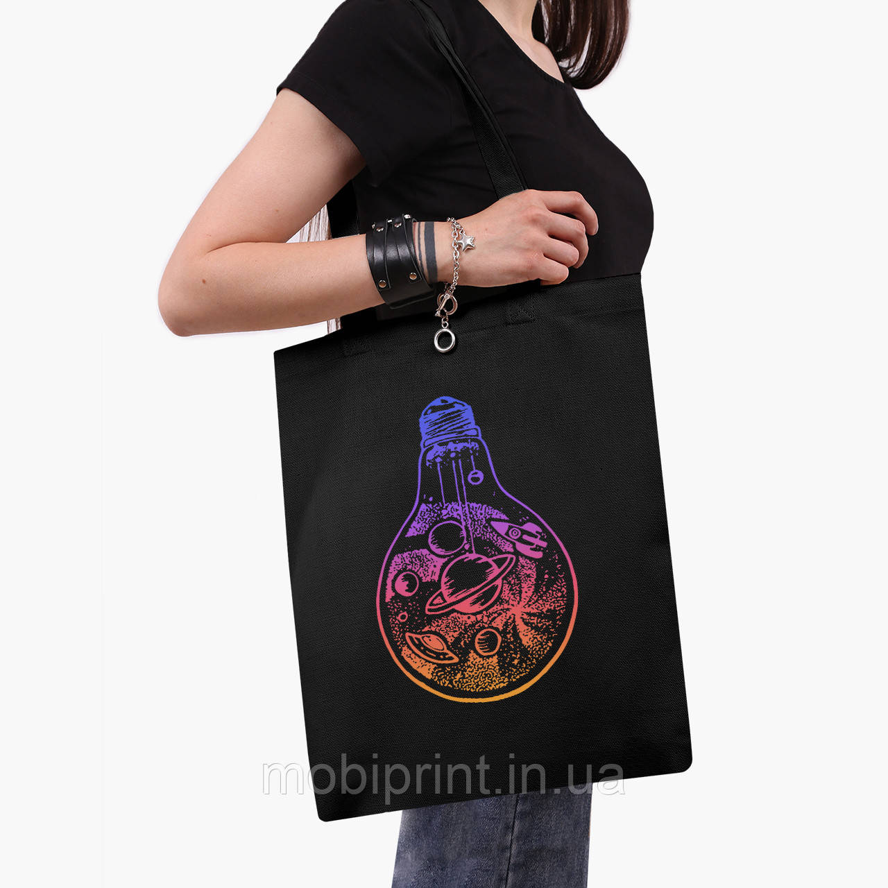 Эко сумка шоппер черная Планеты в лампочке (Planets in a light bulb) (9227-2839-2)  41*35 см