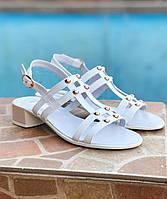 Босоножки женские натуральные кожаные кожа летние на удобном каблуке стильные 37 размер M.KraFVT 0317 2021