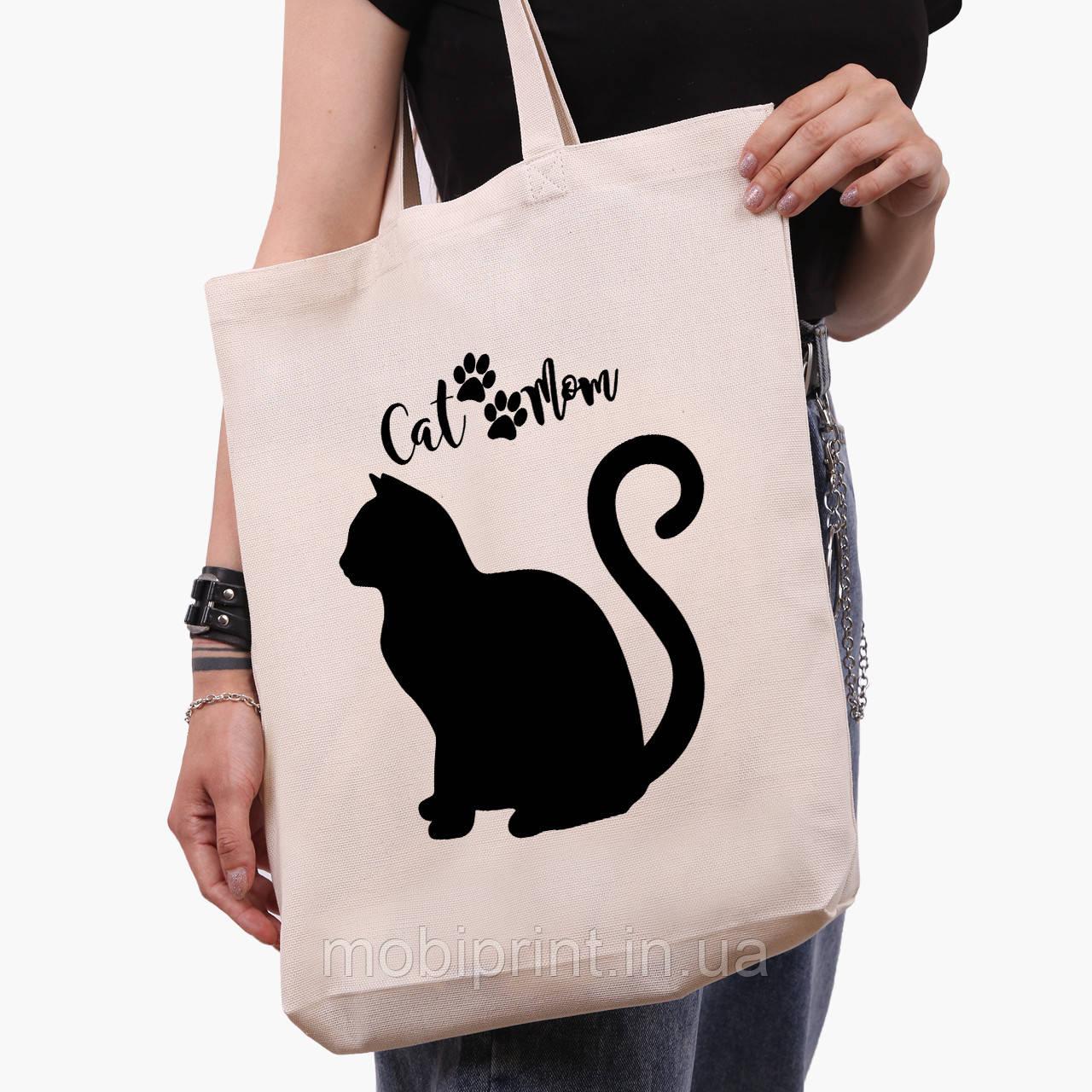 Эко сумка шоппер белая Cat Mom (9227-2840-1)  41*39*8 см