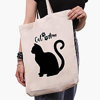 Эко сумка шоппер белая Cat Mom (9227-2840-1)  41*39*8 см , фото 1