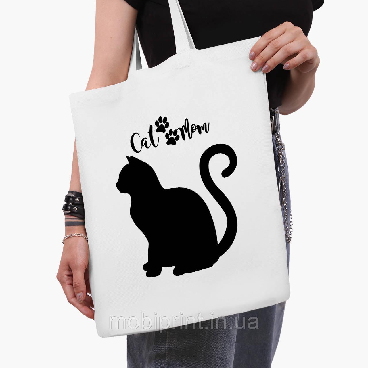 Эко сумка шоппер белая Cat Mom (9227-2840-3)  41*35 см