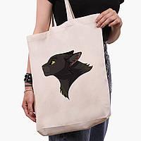 Эко сумка шоппер белая Черная пантера (Black panther) (9227-2844-1)  41*39*8 см , фото 1