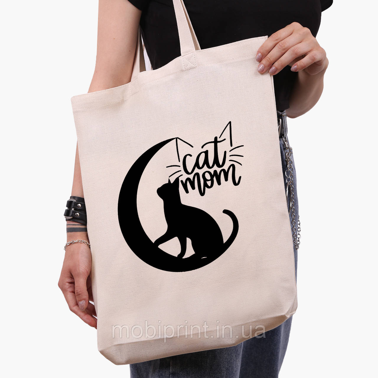 Эко сумка шоппер белая Cat Mom (9227-2845-1)  41*39*8 см