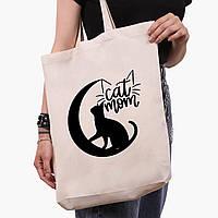 Эко сумка шоппер белая Cat Mom (9227-2845-1)  41*39*8 см , фото 1