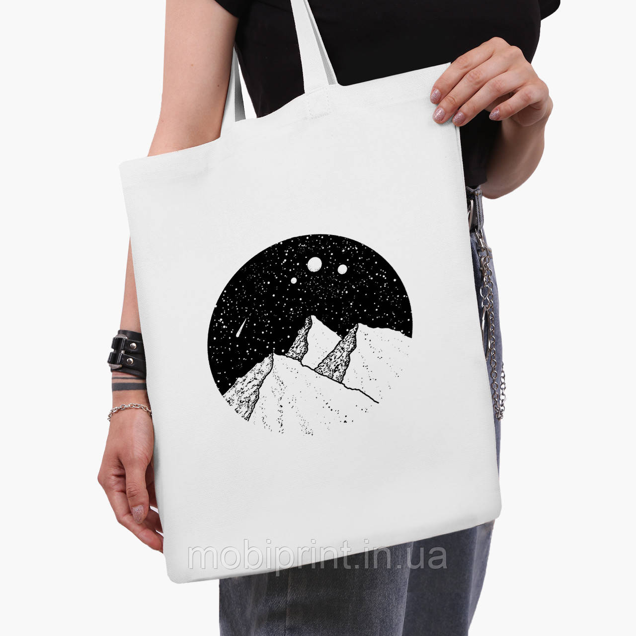 Еко сумка шоппер біла Зоряні гори (Starry mountains) (9227-2846-3) 41*35 см