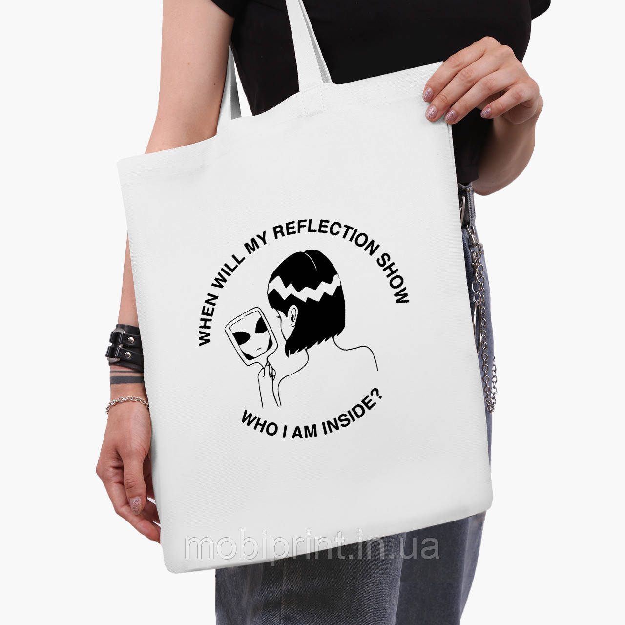Еко сумка шоппер біла Дівчина інопланетянин (Why I am inside?) (9227-2847-3) 41*35 см
