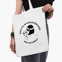 Еко сумка шоппер біла Дівчина інопланетянин (Why I am inside?) (9227-2847-3) 41*35 см, фото 1