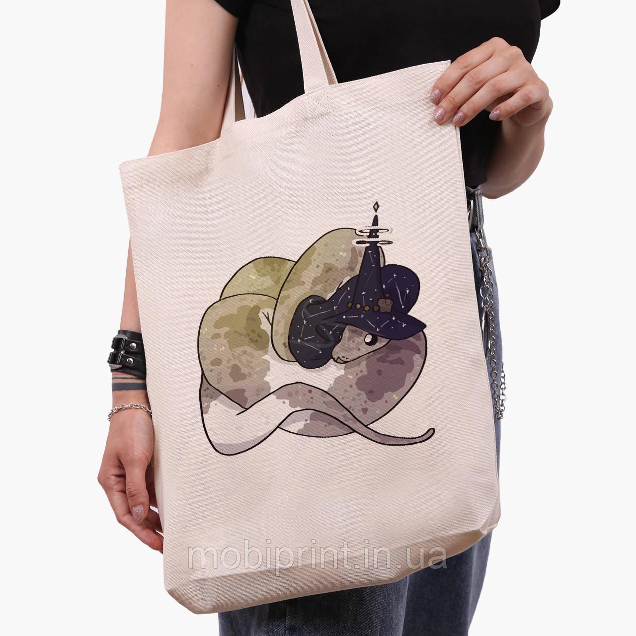Еко сумка шоппер біла Магічна змія (Magic snake) (9227-2848-1) 41*39*8 см