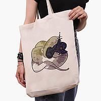 Еко сумка шоппер біла Магічна змія (Magic snake) (9227-2848-1) 41*39*8 см, фото 1