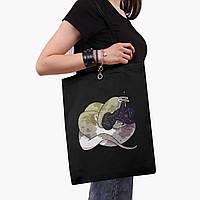 Эко сумка шоппер черная Магическая змея (Magic snake) (9227-2848-2)  41*35 см , фото 1