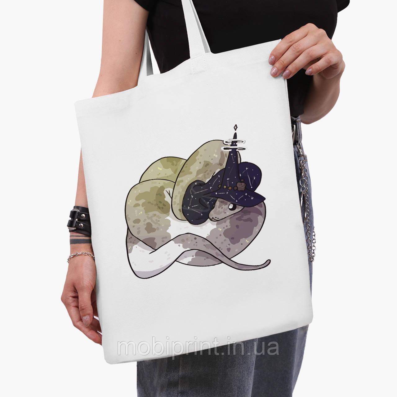 Еко сумка шоппер біла Магічна змія (Magic snake) (9227-2848-3) 41*35 см