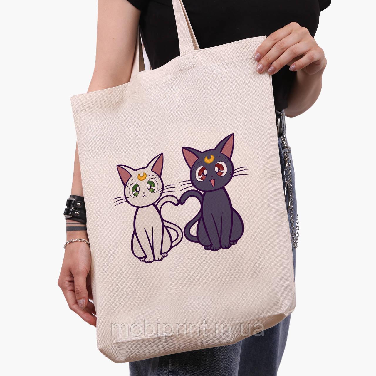 Эко сумка шоппер белая Луна Кошки Сейлор Мун (anime Sailor Moon Cats) (9227-2849-1)  41*39*8 см