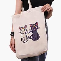 Эко сумка шоппер белая Луна Кошки Сейлор Мун (anime Sailor Moon Cats) (9227-2849-1)  41*39*8 см , фото 1