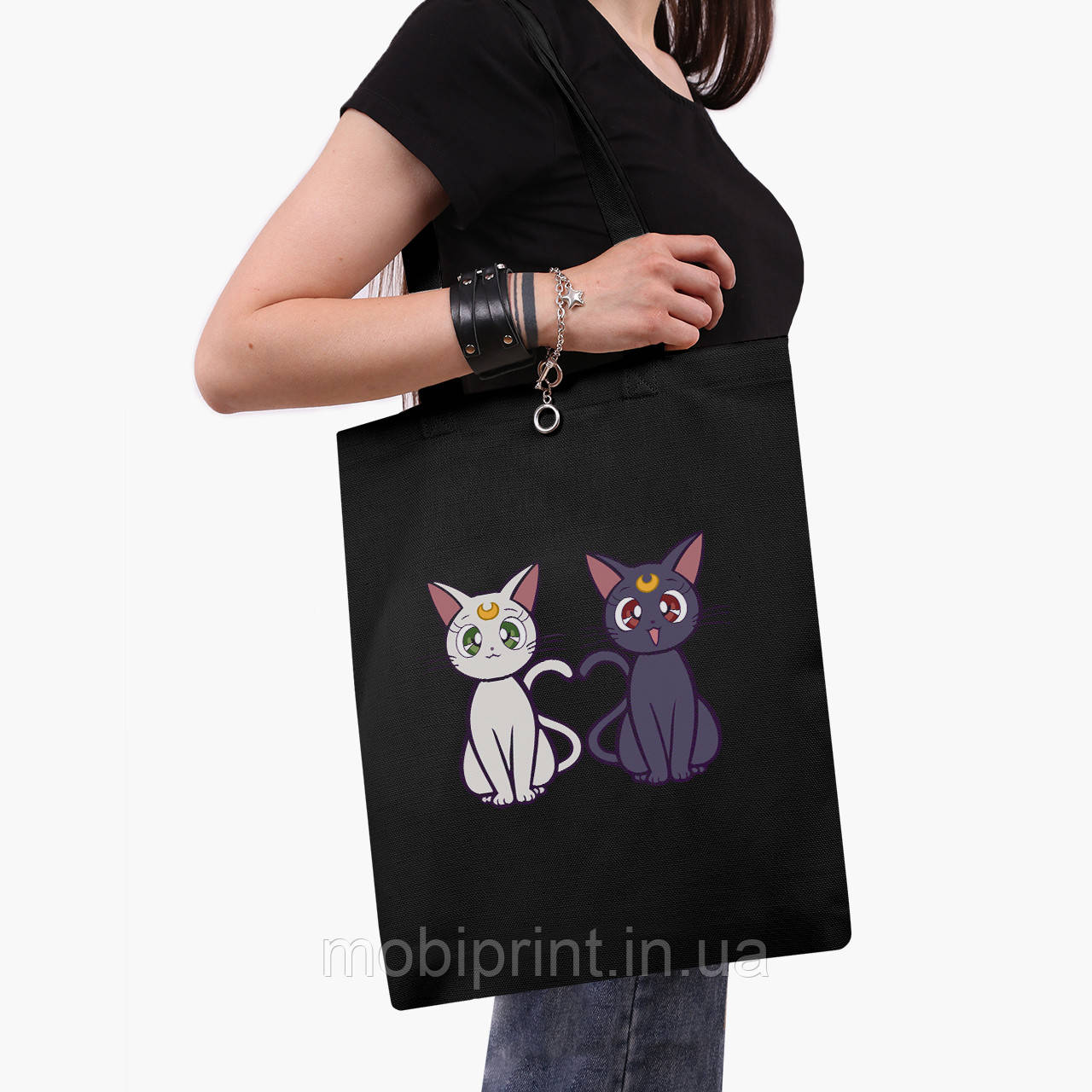 Эко сумка шоппер черная Луна Кошки Сейлор Мун (anime Sailor Moon Cats) (9227-2849-2)  41*35 см
