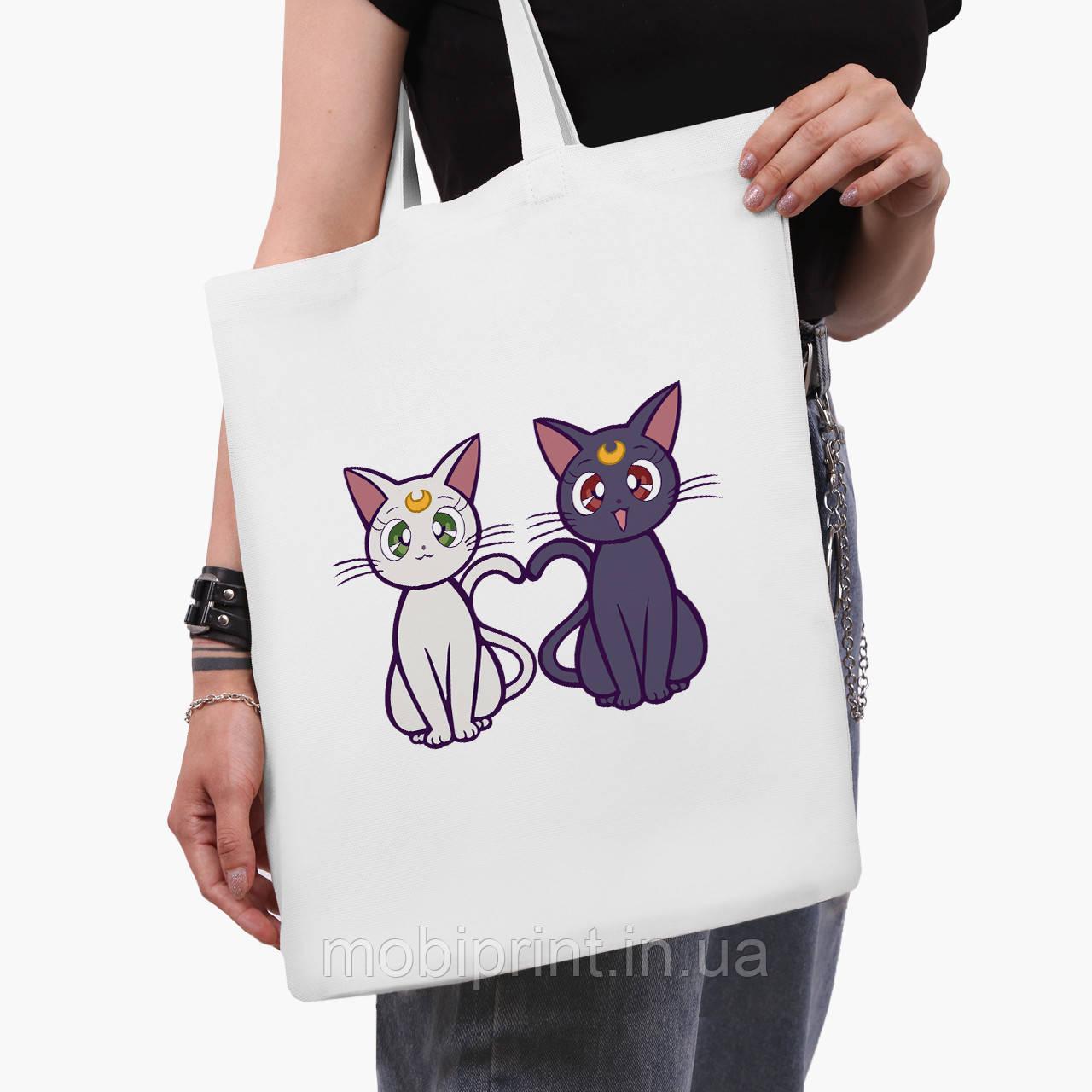 Эко сумка шоппер белая Луна Кошки Сейлор Мун (anime Sailor Moon Cats) (9227-2849-3)  41*35 см